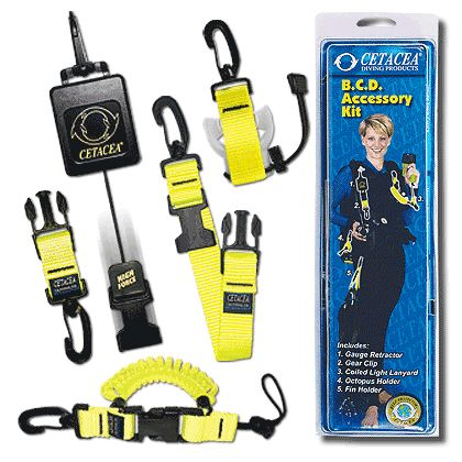 Cetacea BCD  Accessory Kit - Retractor, Lanyard, Octopus Holder, Fin Holder, Gear Clip