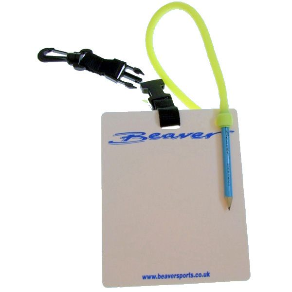 Beaver Sports - 15x13cm Dive Slate with Pencil, Clip and Quick Release Attachment