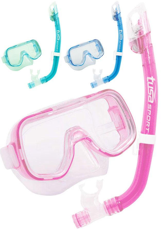 Tusa -  Junior Dry Combo Mask and Snorkel Set - Dry Top, Purge Valve - Age 6-12