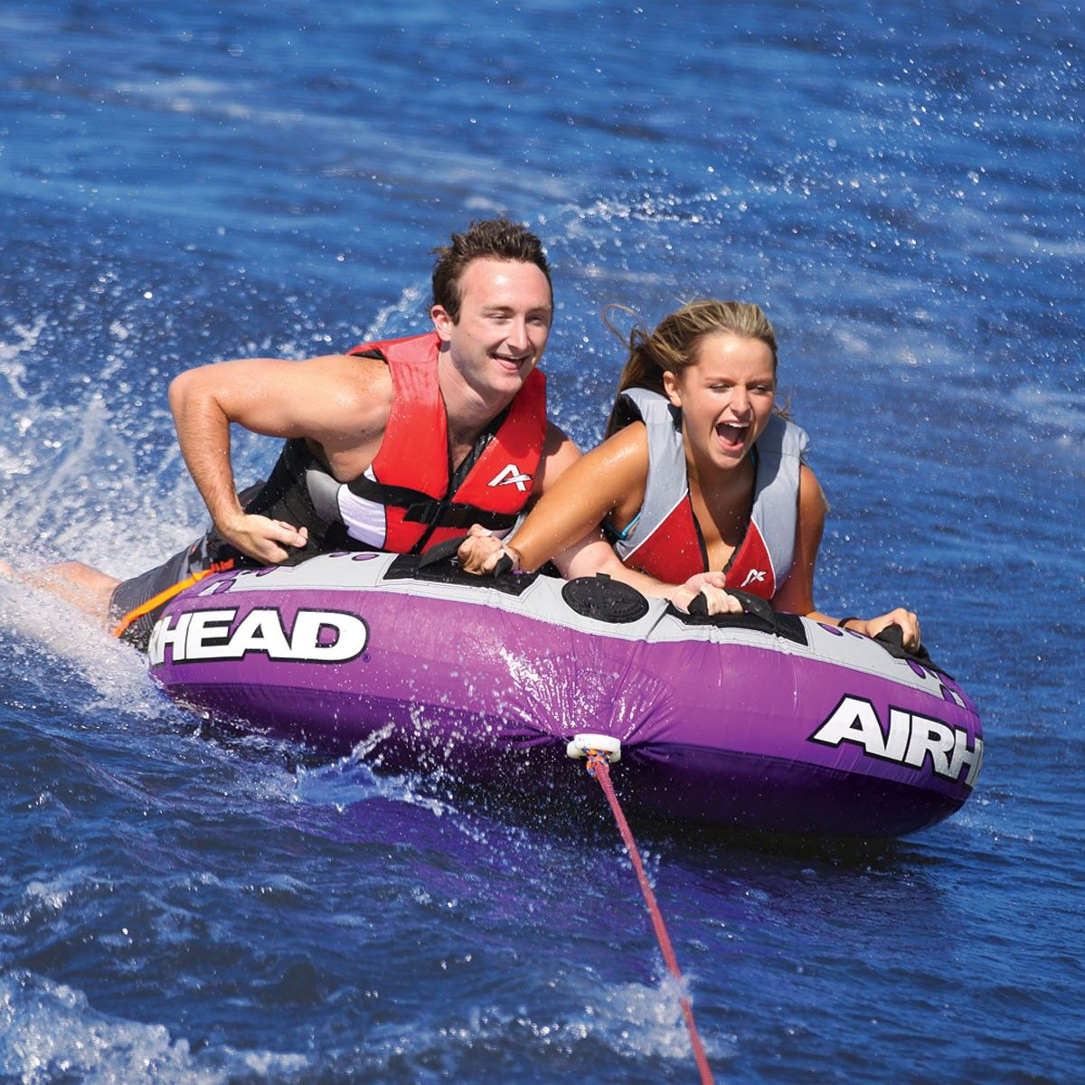 Airhead Slice Large Double Rider Covered Towable Ringo Tube Inflatable Towing Harness Home